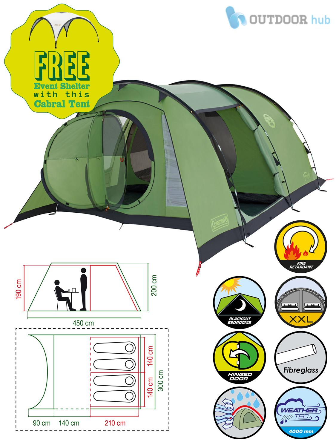 Coleman-Cabral-Tent-4-5-6-Man-Family-  sc 1 st  eBay & Coleman Cabral Tent 4 5 6 Man Family Tunnel Camping Tent Event ...