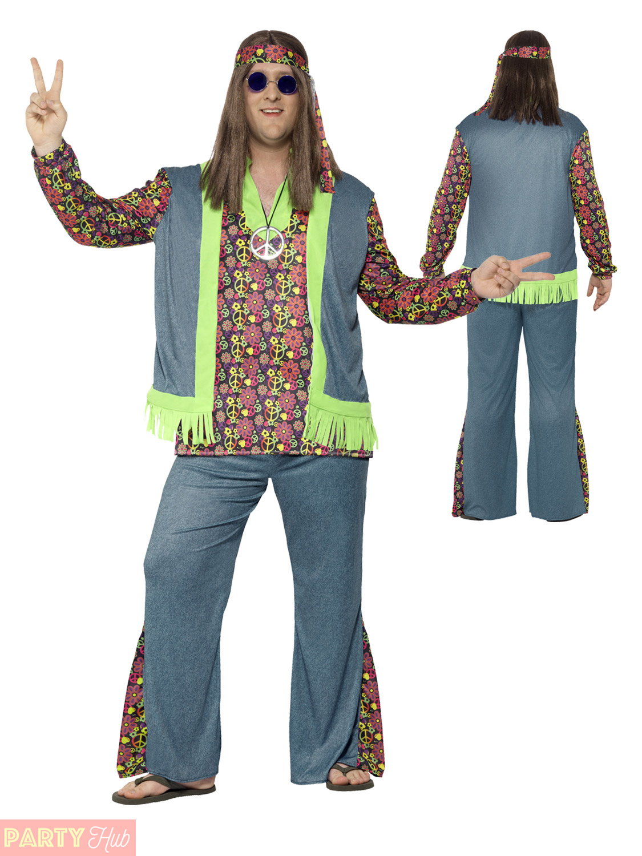 Adults Hippie Costume Mens Ladies Plus Size Hippy Fancy Dress 60s 70s CND Outfit