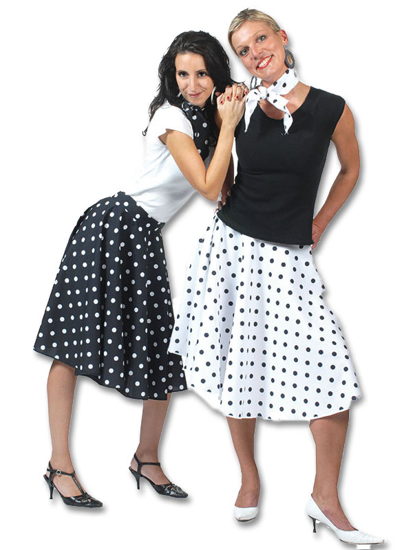 Adult-Ladies-Polka-Dot-Rock-N-Roll-Skirt-Scarf-50s-Fifties-Fancy-Dress-Costume