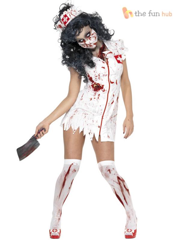 Ladies Sexy Zombie Nurse Costume Adult Womens Halloween Party Fancy Dress  8-18