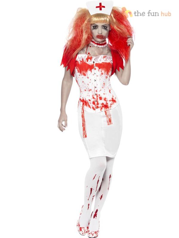 e107fecbcad29 HALLOWEEN BLOOD DRIP NURSE PSYCHO HORROR LADIES FANCY DRESS COSTUME ...