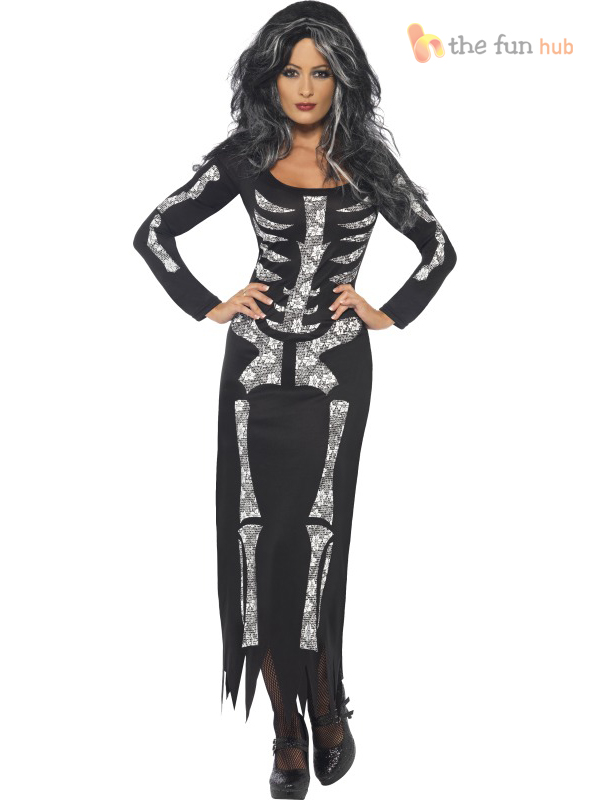Size 8-22 Sexy Skeleton Tube Ladies Halloween Fancy Dress Costume Womens Outfit