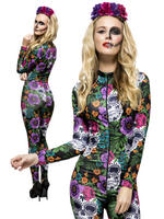 Ladies Fever Day of the Dead Catsuit