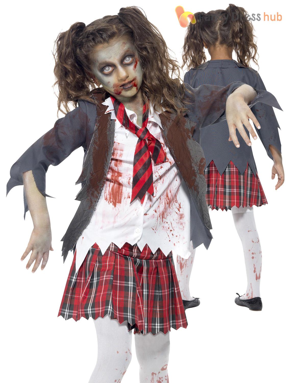girls zombie cheerleader school girl costume halloween fancy dress party kids ebay. Black Bedroom Furniture Sets. Home Design Ideas