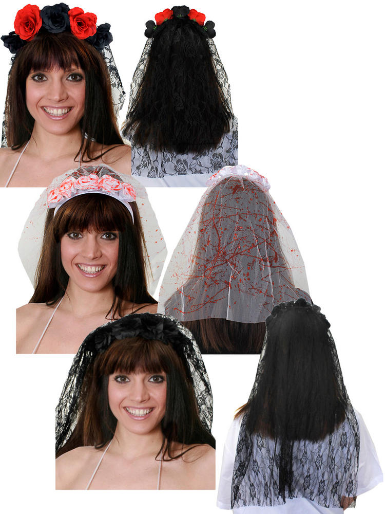 Adults Day of the Dead Bloody Veil Ladies Halloween Fancy Dress Bride Accessory