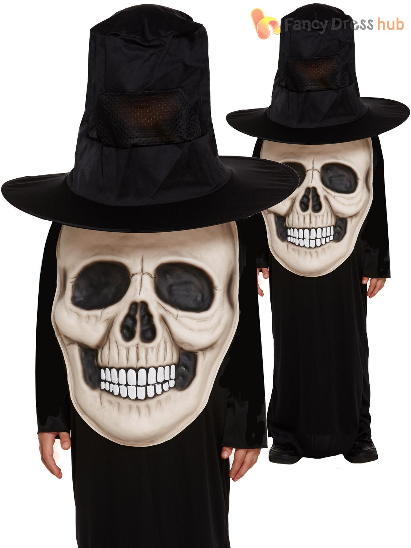 Childs Skull Jumbo Face Costume Boys Halloween Skeleton Fancy ...