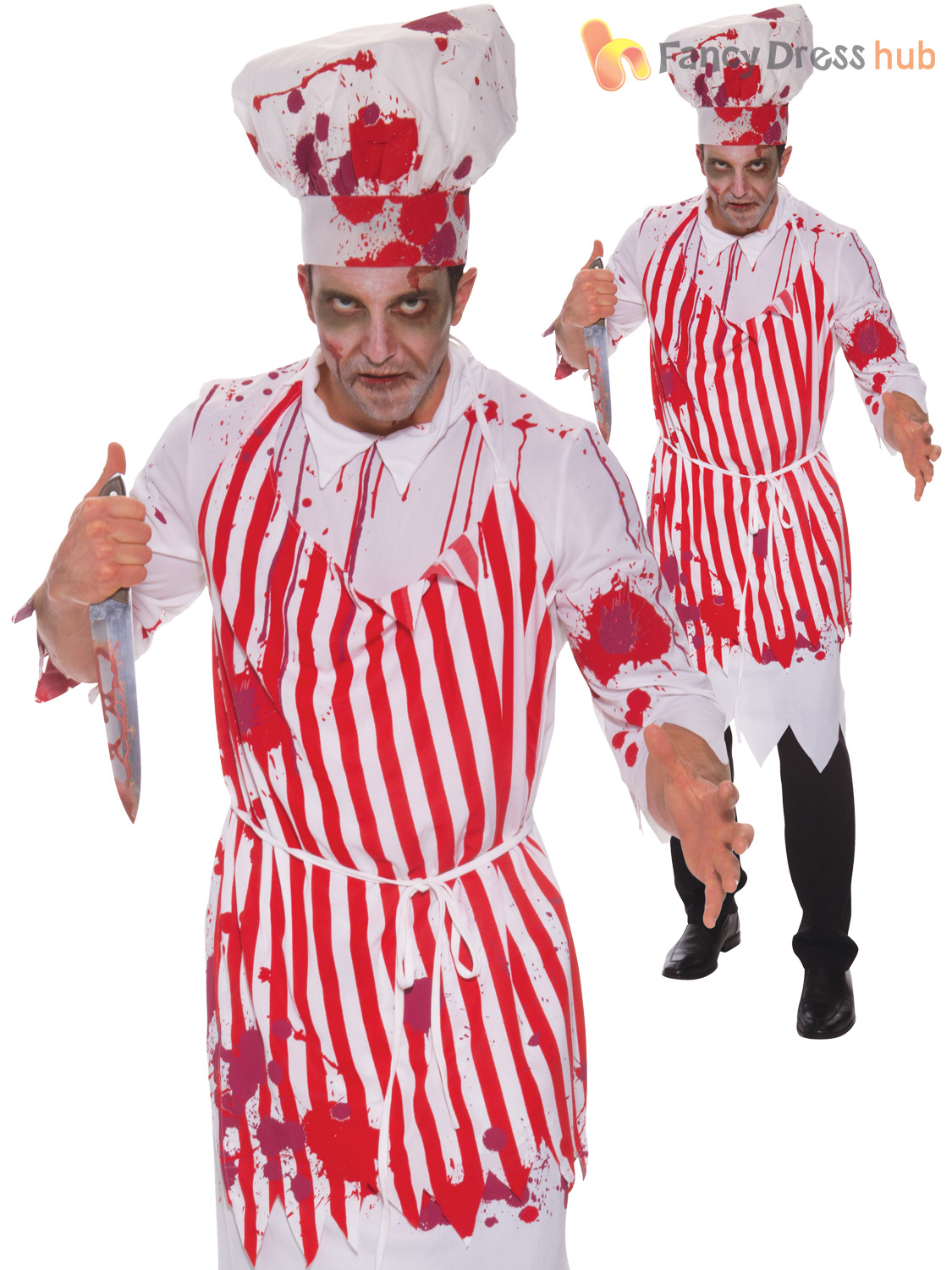 Mens-Bloody-Butcher-Costume-Adults-Halloween-Zombie-Horror-  sc 1 st  eBay & Mens Bloody Butcher Costume Adults Halloween Zombie Horror Fancy ...