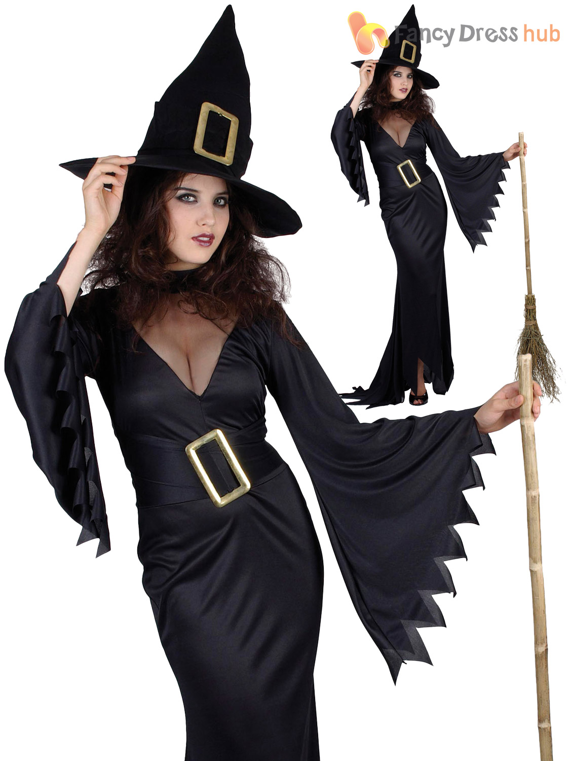 Ladies-Black-Witch-Costume-Adults-Sexy-Witches-Halloween-  sc 1 st  eBay & Ladies Black Witch Costume Adults Sexy Witches Halloween Fancy Dress ...