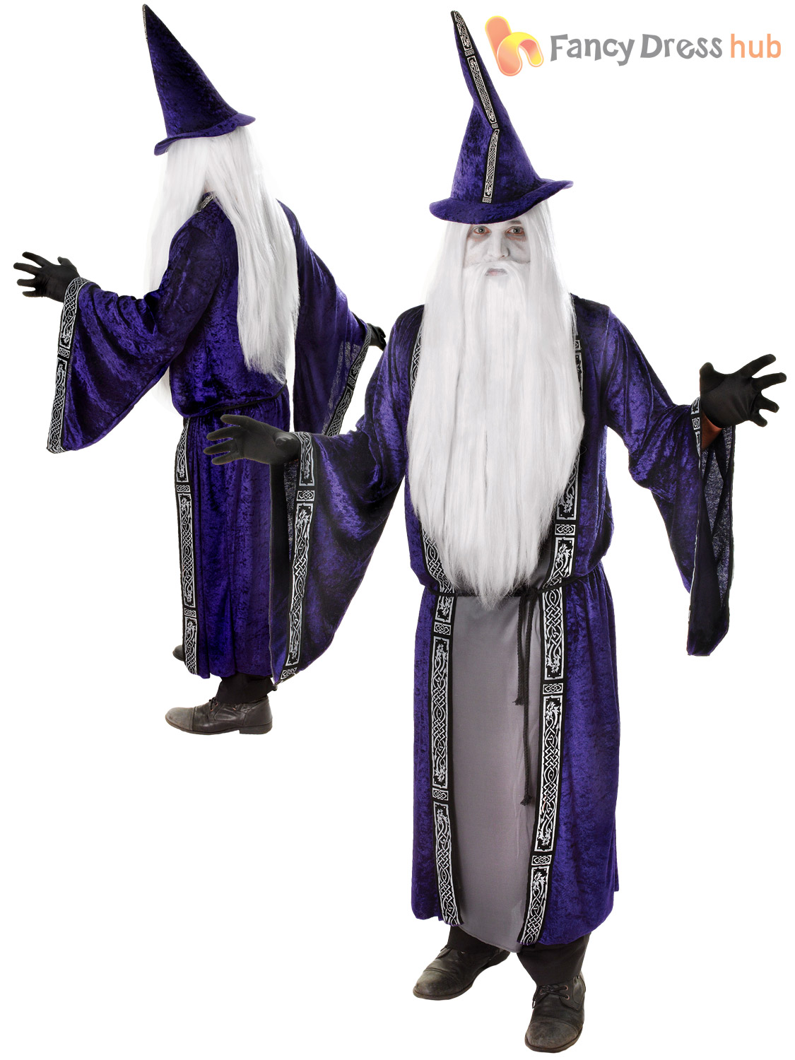 Mens Magician Robe & Hat / Wizard Costume Adults Magic Merlin ...