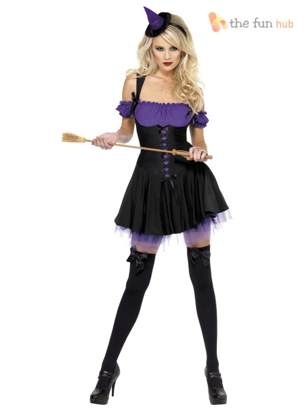 Ladies-Halloween-Sexy-Witch-Tutu-Dress-Hat-Fancy-Dress-Costume-Outfit-Size-8-14