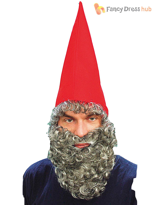e38fff54804 Adults Dwarf Elf Gnome Hat + Beard Mens Ladies Christmas Fancy Dress ...