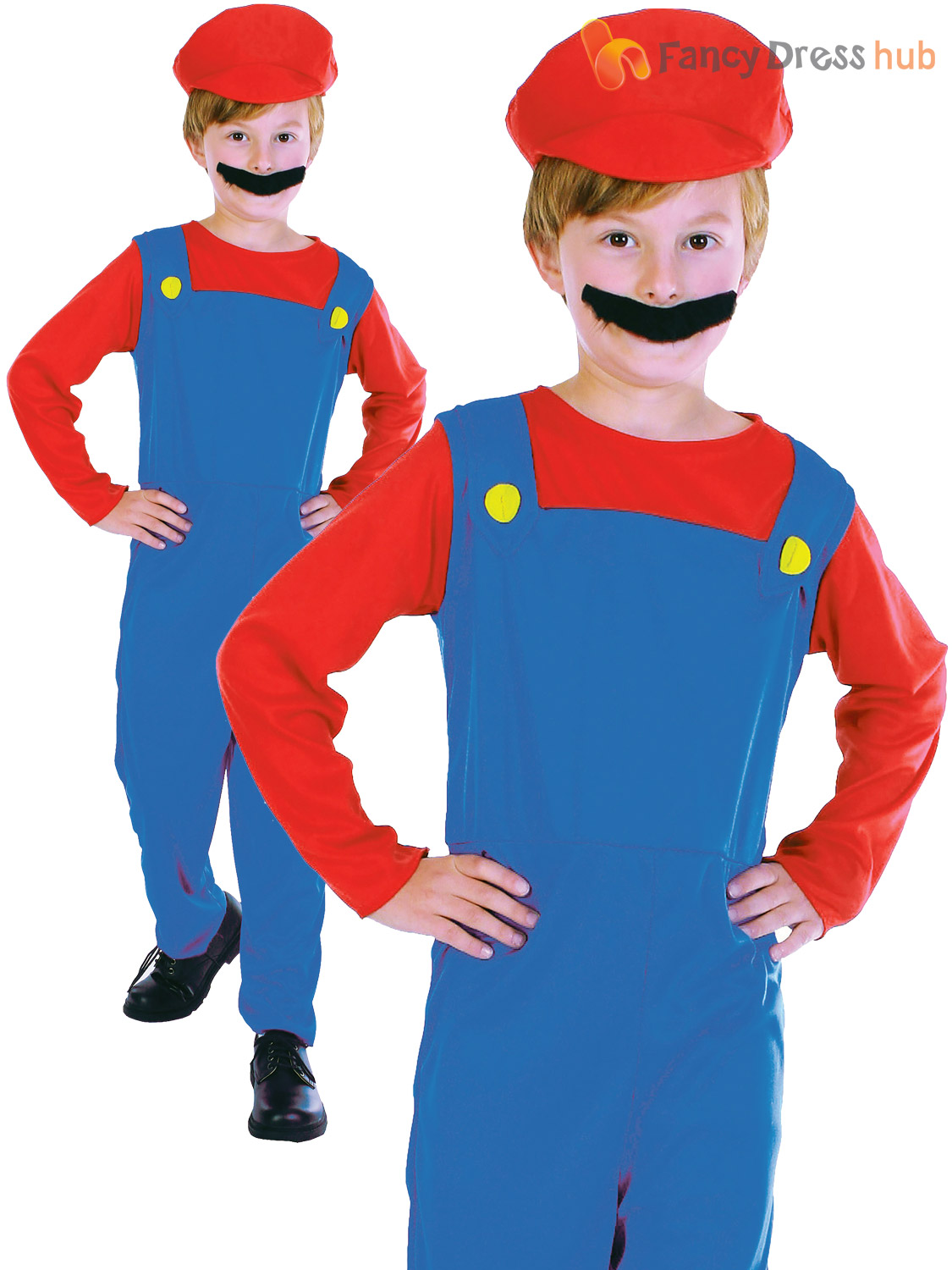 Childs-Plumber-Costume-Girls-Boys-Mario-Video-Game-  sc 1 st  eBay : mario costume boys  - Germanpascual.Com