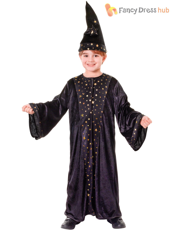 Childs Deluxe Wizard Costume Boys Girls Magician Fancy Dress Book ...