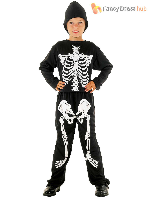 Boys Skeleton Costume Childs Kids Halloween Fancy Dress Outfit Scary Skull