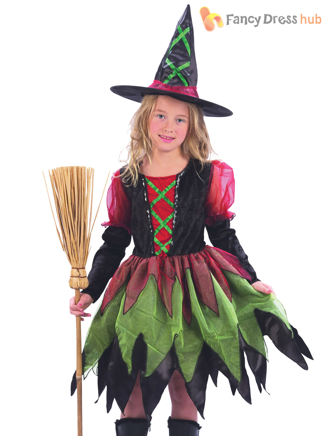 Girls Fairy Witch Costume Childs Kids Halloween Tutu Fancy Dress ...