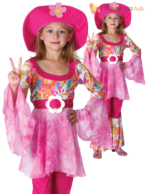Girls Hippy Diva Costume Childs 60s 70s Hippie Fancy Dress ...