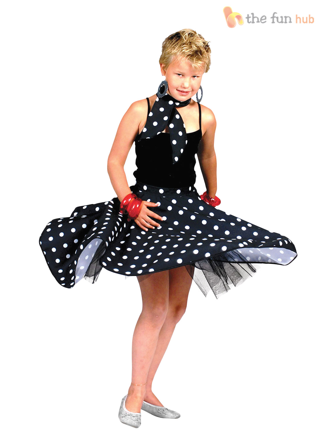50s rock n roll girls fancy dress 1950s jazz bopper kids childs costume outfit ebay. Black Bedroom Furniture Sets. Home Design Ideas