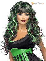 Ladies Green & Black Long Curly Siren Wig