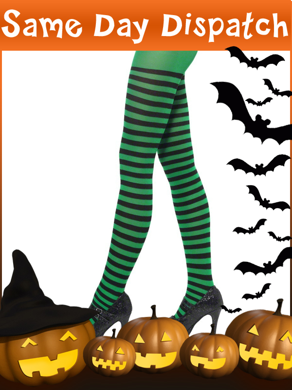 Ladies-Horizontal-Striped-Stripey-Tights-Halloween-Witch-Pumpkin-Fancy-Dress