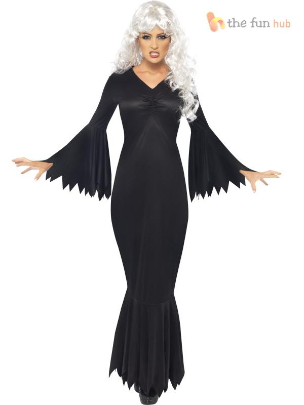 Ladies Vampire Witch Costume Long Black Morticia Hallowen Fancy