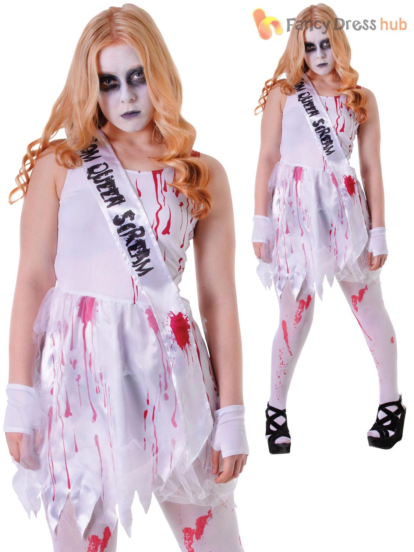 Girls Teen Bloody Prom Queen Costume Halloween Zombie Fancy Dress ...