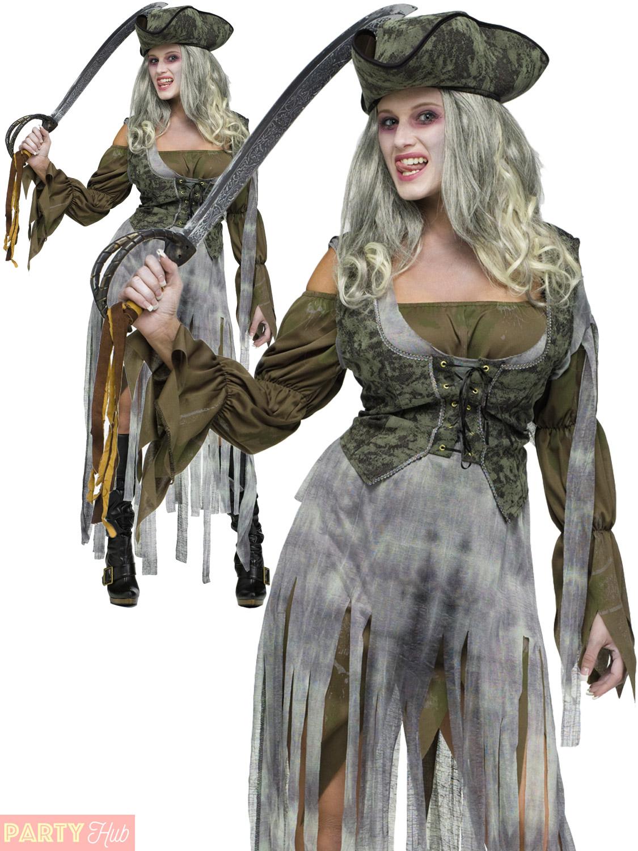 ladies zombie pirate costume adult halloween fancy dress. Black Bedroom Furniture Sets. Home Design Ideas