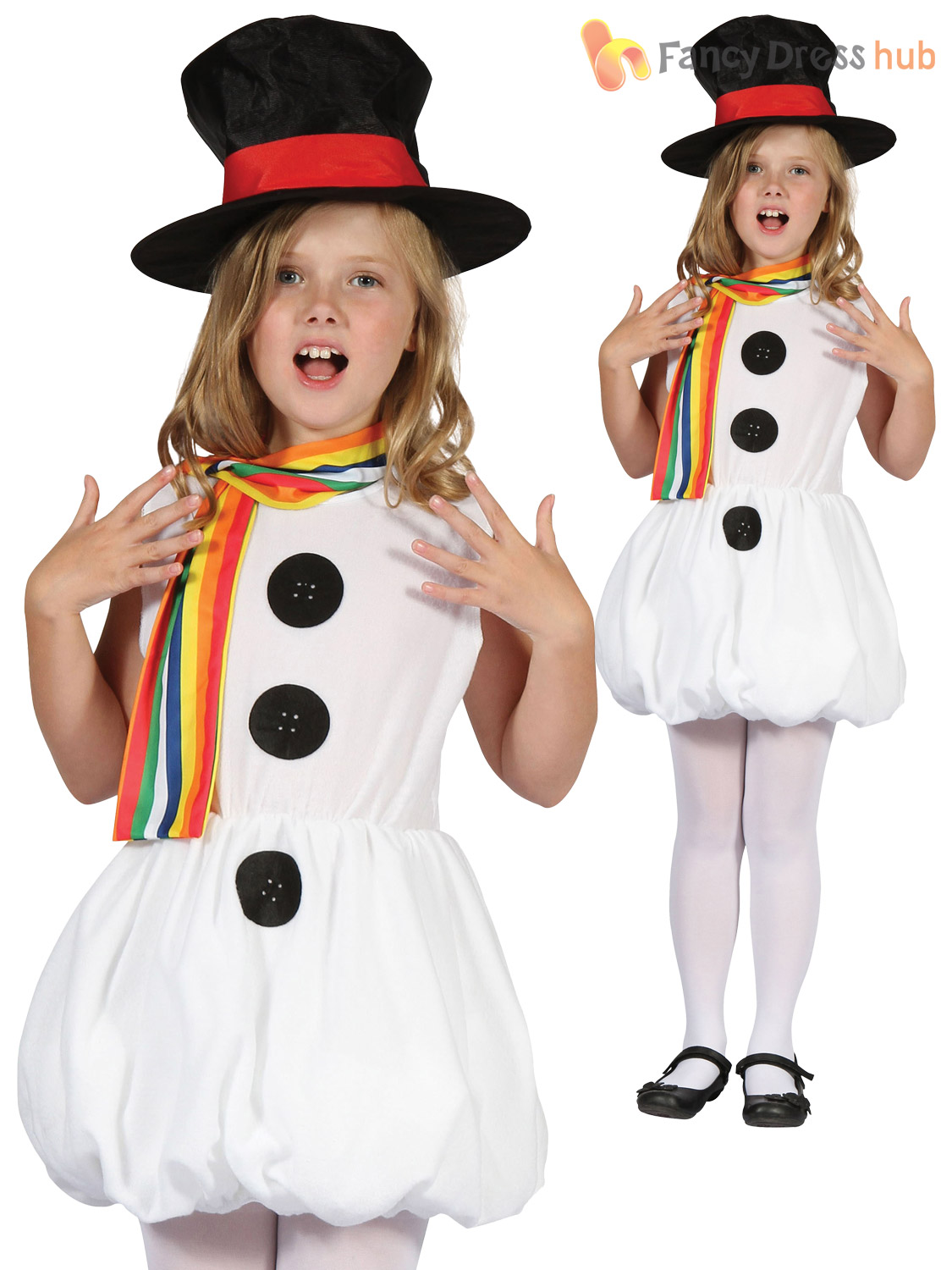 Girls Snowman Costume Childs Toddler Christmas Fancy Dress Kids Xmas Outfit