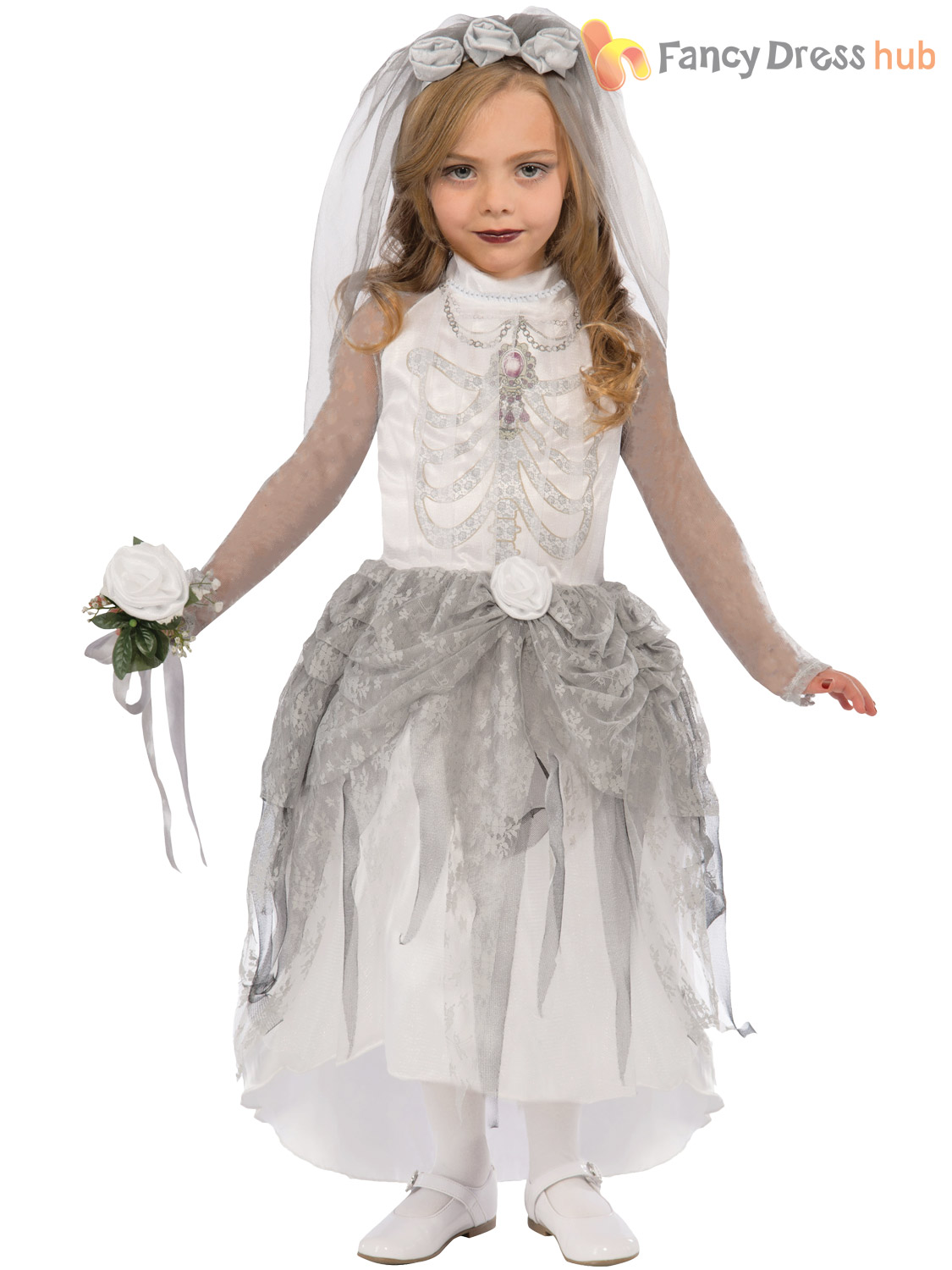 Girls Skeleton Zombie Bride Costume Childs Halloween Corpse Fancy Dress Outfit