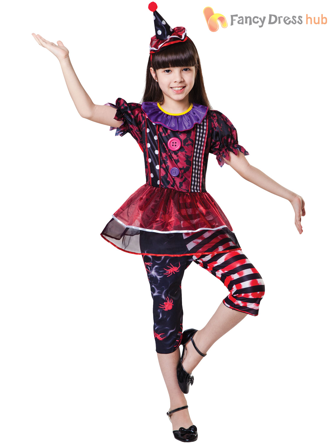 Girls Evil Scary Clown Jester Costume Circus Halloween Fancy Dress ...