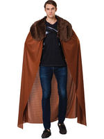 Men's Brown Cape With Plush Collar