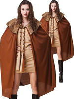 Ladies Brown Short Deluxe Cape With Plush Collar