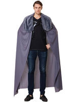 Men's Grey Cape With Plush Collar