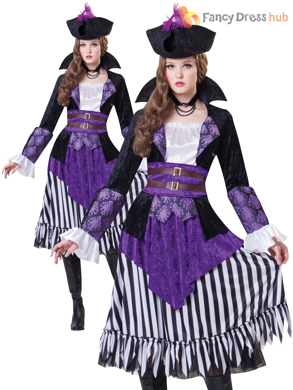 Ladies Deluxe Pirate Queen Costume Adults Captain Fancy Dress Womens ...
