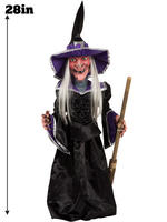"""Animated 28"""" Light Up Witch Prop with Sound"""