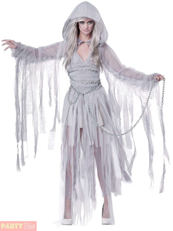 Ladies Haunted Beauty Costume Adults Ghost Bride Halloween Fancy Dress ...