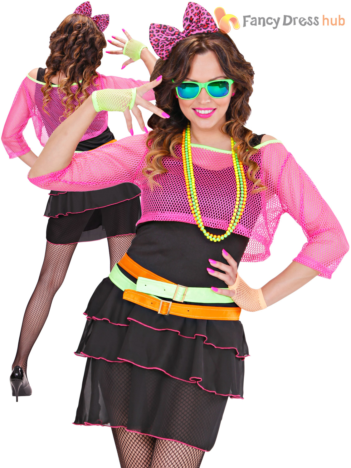 Ladies 1980s Groupie Girl Costume Adults Retro Fancy Dress Woman Dancer Outfit