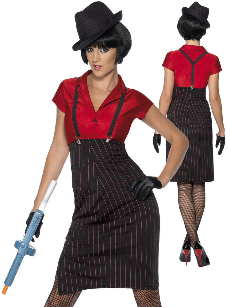 Ladies 1920S Red & Black Gangster Costume
