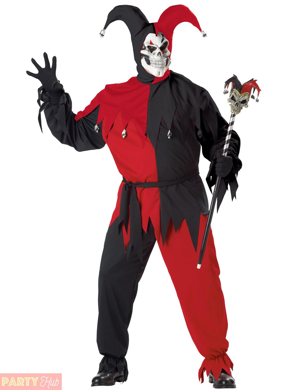 Mens Evil Jester Costumes Deluxe Halloween Scary Killer Clown Fancy Dress Joker