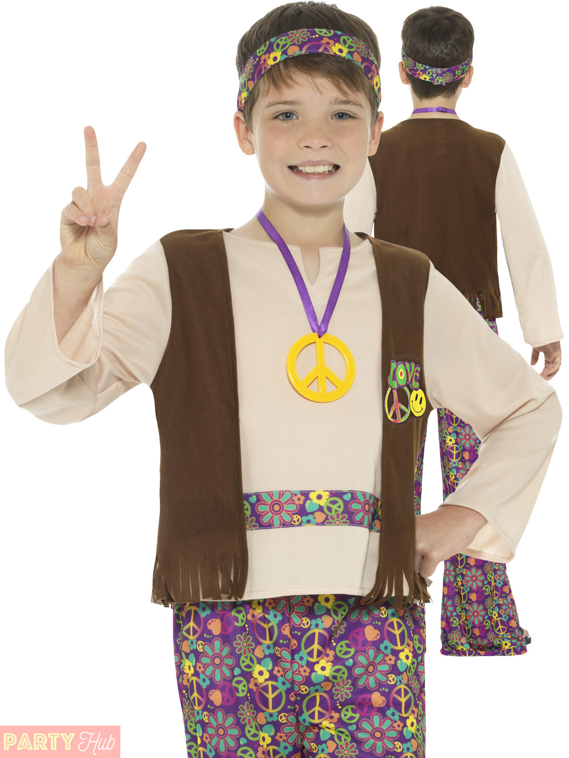 boys hippie costume childs hippy 1960s 1970s fancy dress
