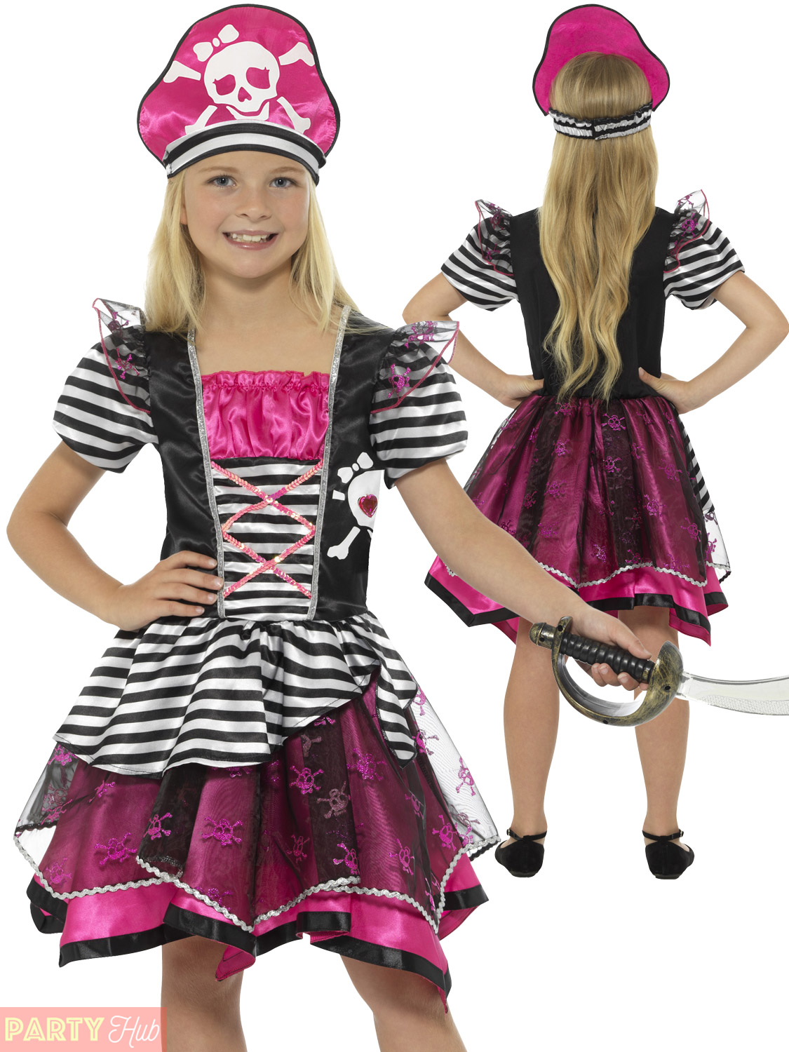 Girls Pink Pirate Costume Childrens Kids Buccaneer Fancy Dress Caribbean Outfit