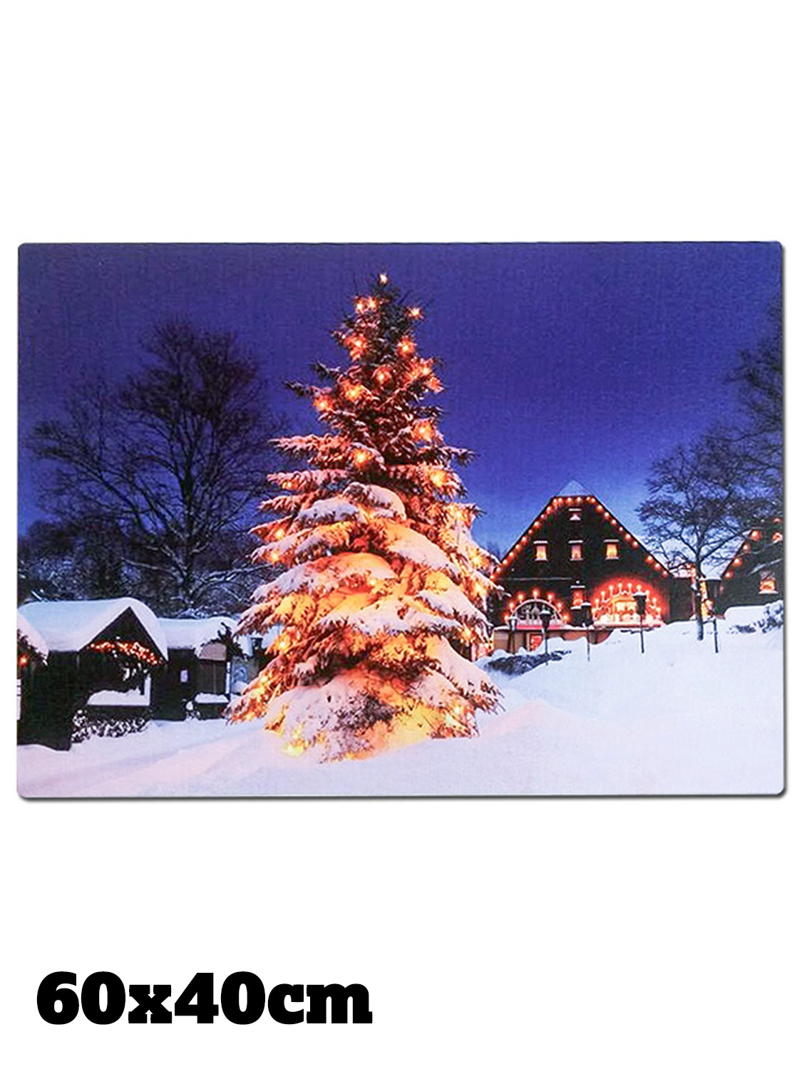 Christmas Wall Scene Decorations : Christmas canvas led light up tree picture wall