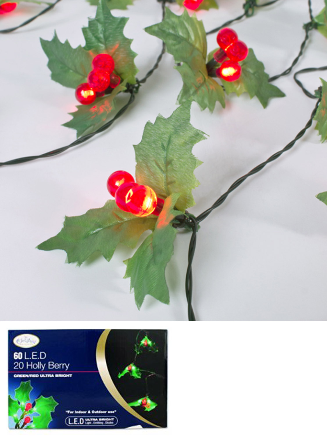 christmas led fairy lights holly berry mistletoe indoor
