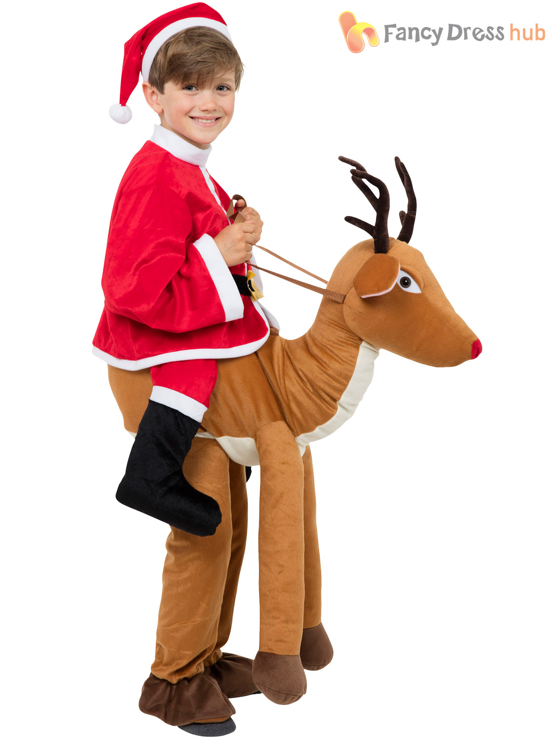 Childs step in reindeer costume boys girls rudolph