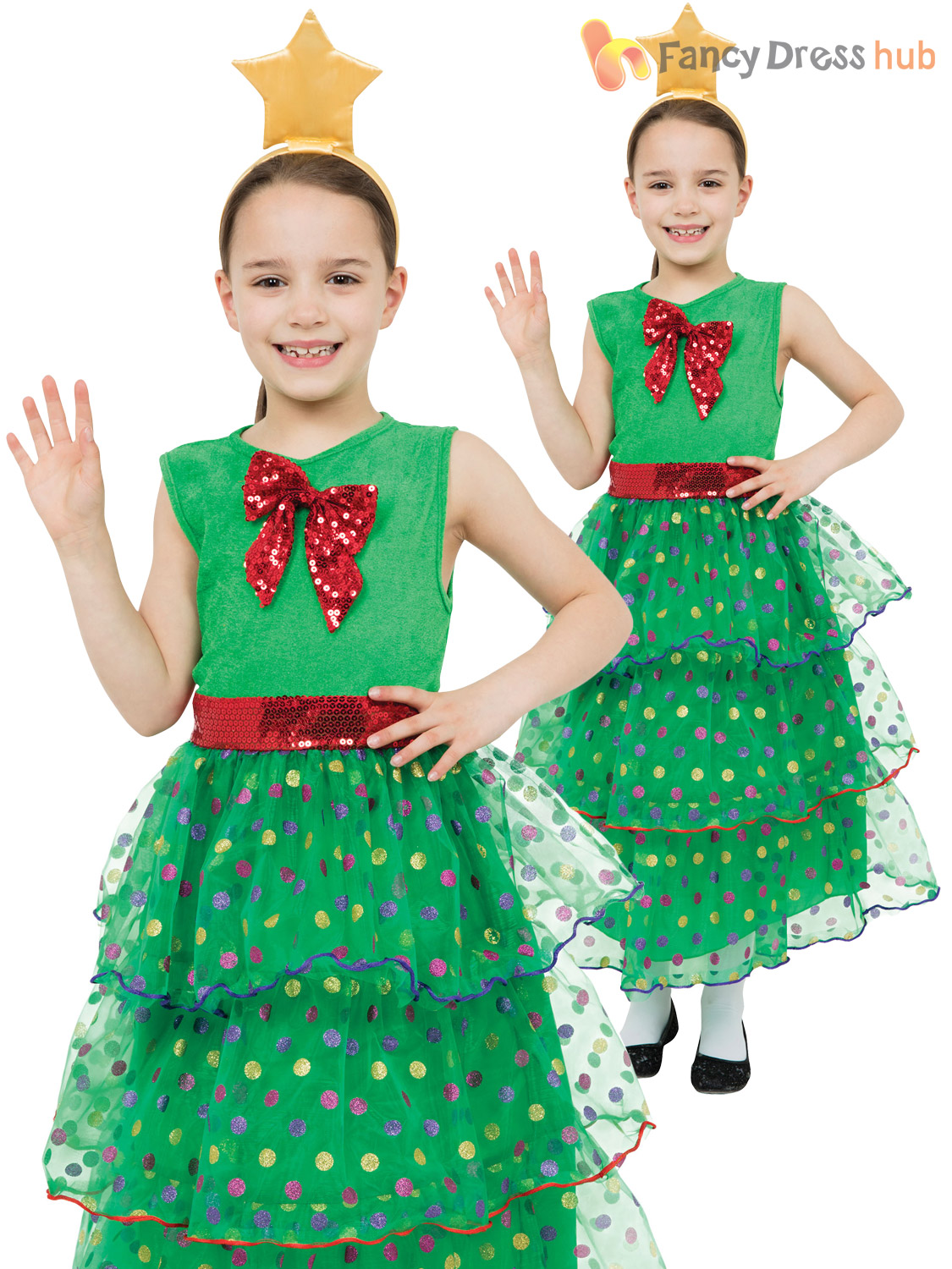 Girls Christmas Tree Costume Childs Xmas Fancy Dress Kids Novelty Outfit