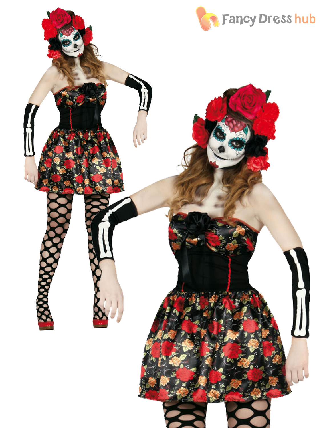 Ladies Day Of The Dead Costume Sugar Skull Skeleton Halloween Fancy Dress Outfit