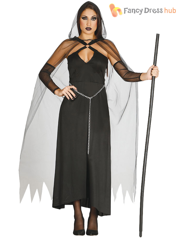 Ladies Grim Reaper Costume Adult Ghoul Halloween Fancy Dress Women ...