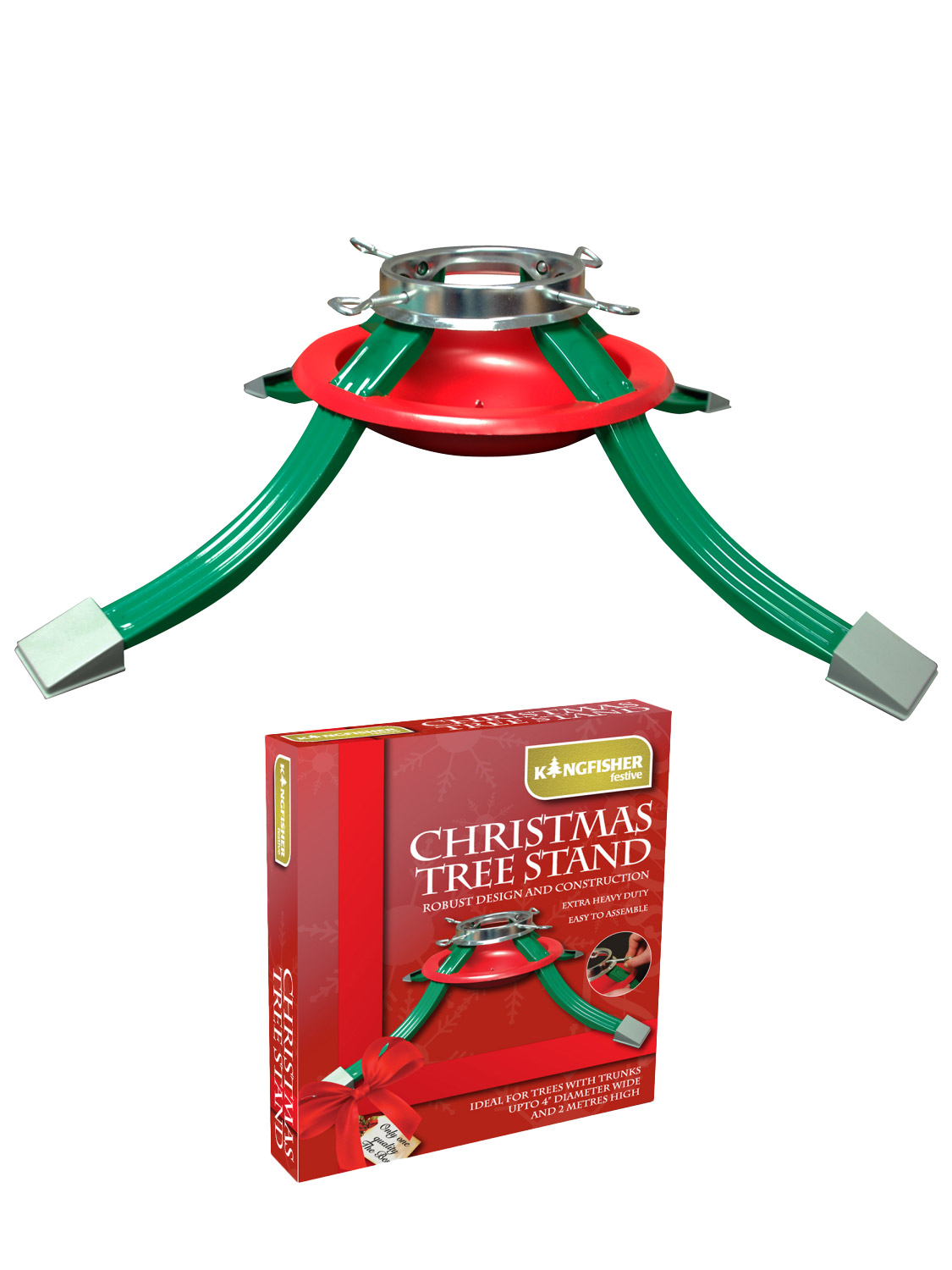 Christmas Tree Stand Red Green Metal Adjustable Water Dish ...