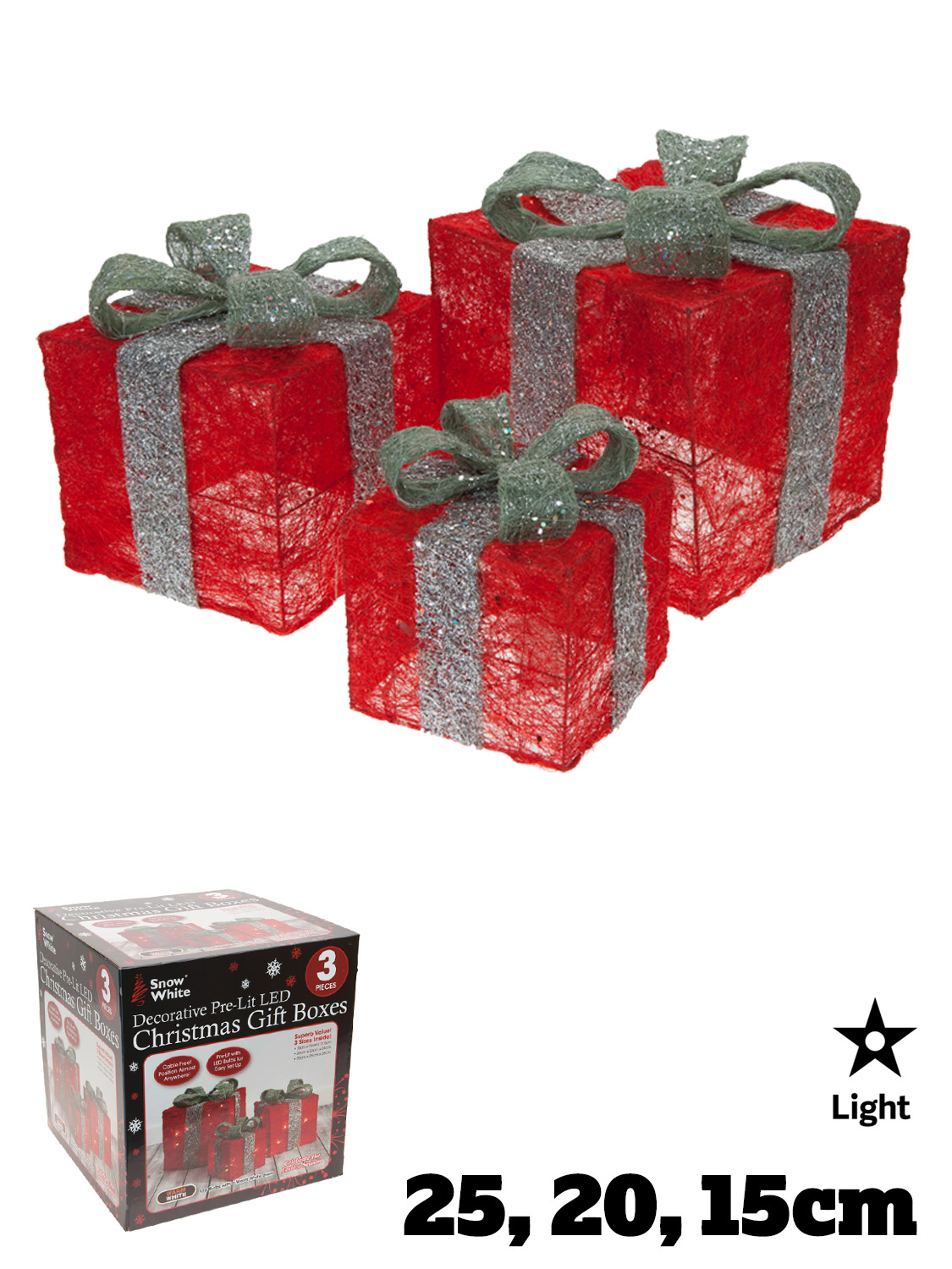 Christmas Gift Light Boxes 3 Presents Led Xmas Indoor