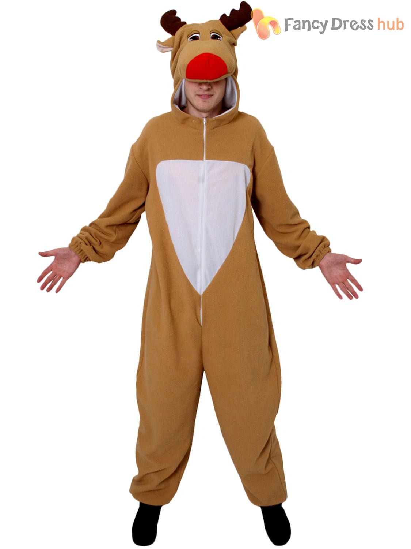 Adults Reindeer Costume Mens Ladies Christmas Fancy Dress Rudolph ...