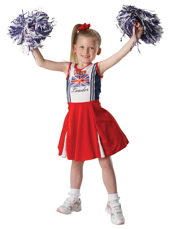 Girls Cheerleader Fancy Dress Costume Outfit Cheer Leader Patriotic + Pom Poms